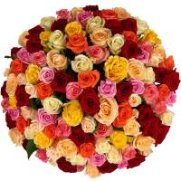 Букет из 101 разноцветной розы R004