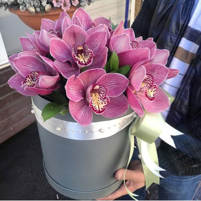 11 крупных розовых орхидей в коробке R008