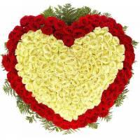 Сердце 301 красная и белая роза R009