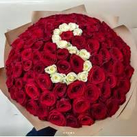 Букет 101 красная роза в крафте R010
