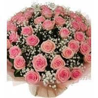 Букет из 51 розовой розы с ветками гипсофилы R001