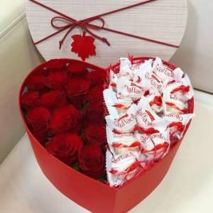Сердце красные розы и рафаэлло R393
