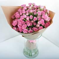Букет 15 розовых кустовых роз R017