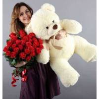 Букет 25 крупных красных роз и большой мишка R303
